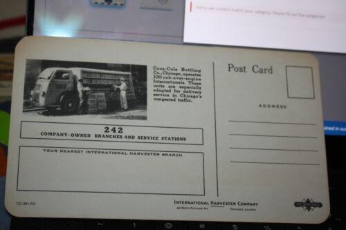 International Harvester Trucks /& Coca-Cola Advertising Yellow Postcard 1930/'s