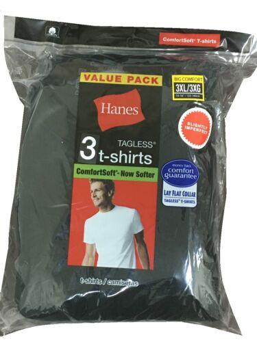 Men Hanes ComfortSoft Black Crew Neck Short Sleeve T-shirt size M-3X