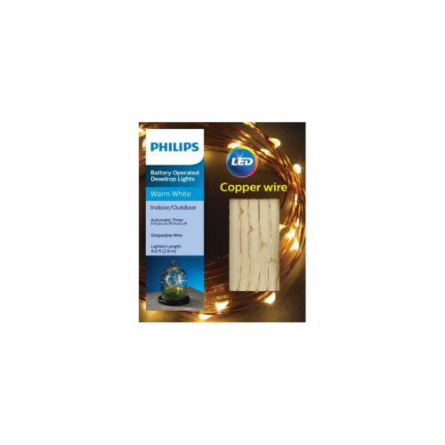 Philips 30ct Dewdrop Battery-Operated Shapable LED Lights Warm White Copper Wire