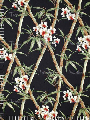 Bamboo Black Hawaiian 100/% Cotton Tropical Upholstery Fabric Barkcloth