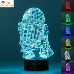 Star Wars R2 D2 Robot 3d Led Night Light Touch Table Lamp