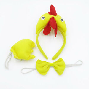 3D-Chicken-Hen-Animal-Farm-Headband-Ears-Tail-Bow-Tie-Fancy-Dress-Party-New