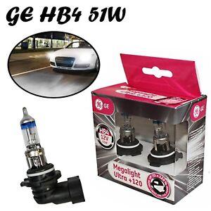 2x-GE-HB4-51W-12V-P22d-MegaLight-Ultra-120-Klar-Weiss-Scheinwerfer-Ersatz-Birne