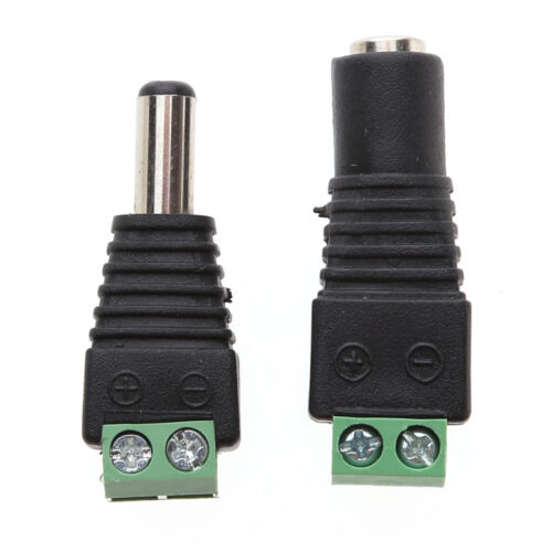 4X Male Female 2.1x5.5mm DC Power Plug Jack Adapter Wire Connector for CCTVBLUS