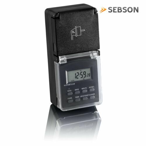 Wochentimer 24h Timer SEBSON 2x Zeitschaltuhr digital programmierbar Außen IP44