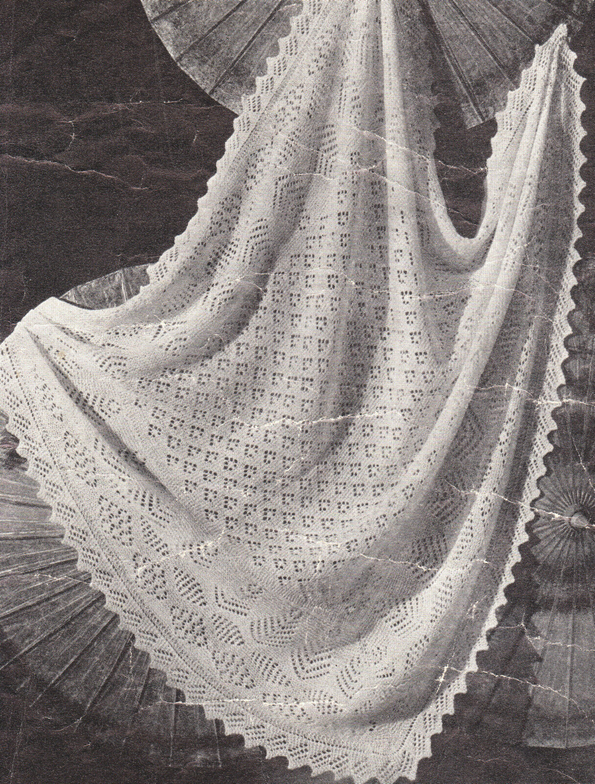 Vintage Shetland Lacy Baby Shawl ~ 2 ply~ ~ Knitting Pattern 47\