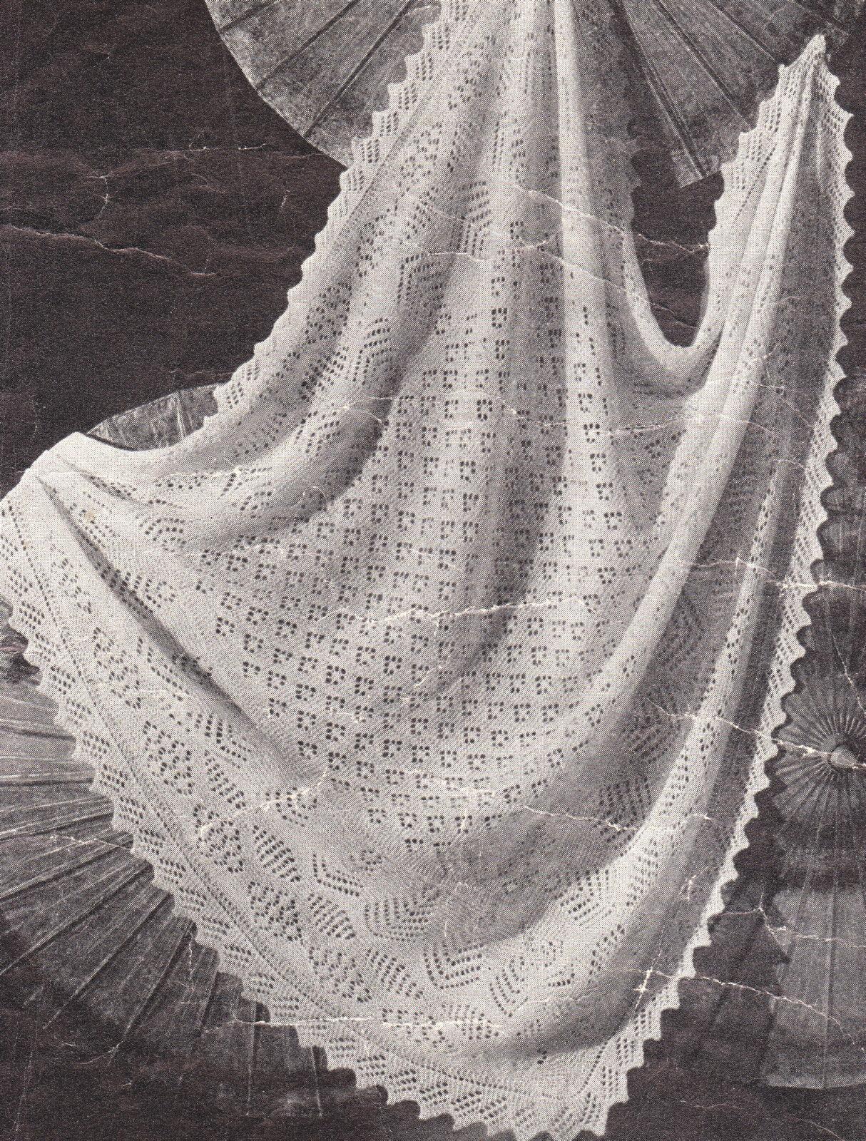 """Cherished Baby Shawl Pattern ~ Lacy Texture ~ 2 Ply Knitting Pattern 48/"""" x 48/"""""""