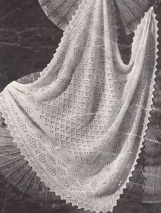 546facc47 Vintage Shetland Lacy Baby Shawl ~ 2 ply~ ~ Knitting Pattern 47