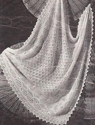"Vintage Shetland Lacy Baby Shawl ~ 2 ply~  ~ Knitting Pattern 47"" x 47"""