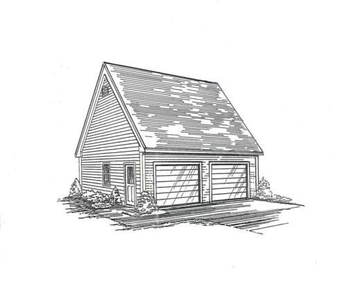 24x24 2-Car LD Garage Building Blueprint Plans / Storage Loft / Pull Down Stair
