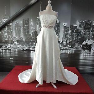 MAGNIFICENT-HAND-MADE-DRESS-IVORY-SIZE-12-PETITE-WEDDING-BEACH-WEDDING-BALL