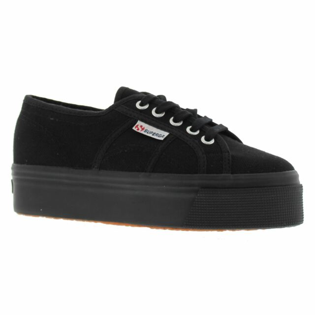 2361c88b19f5 Superga 2790 Linea up and Down Womens Black Canvas Casual Trainers Lace-up  4 UK
