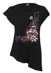 Spiral Blood ROSE Ladies long sleeve Baggy Womens Black Top Floral Gothic Biker