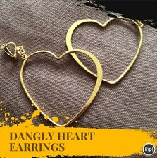 FREE GIFT BAG Gold Plated Clip On Dangly Love Heart Earrings Costume Jewellery