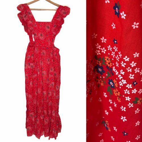 Vintage Red Wildflower Ruffle Pinafore Apron Dress