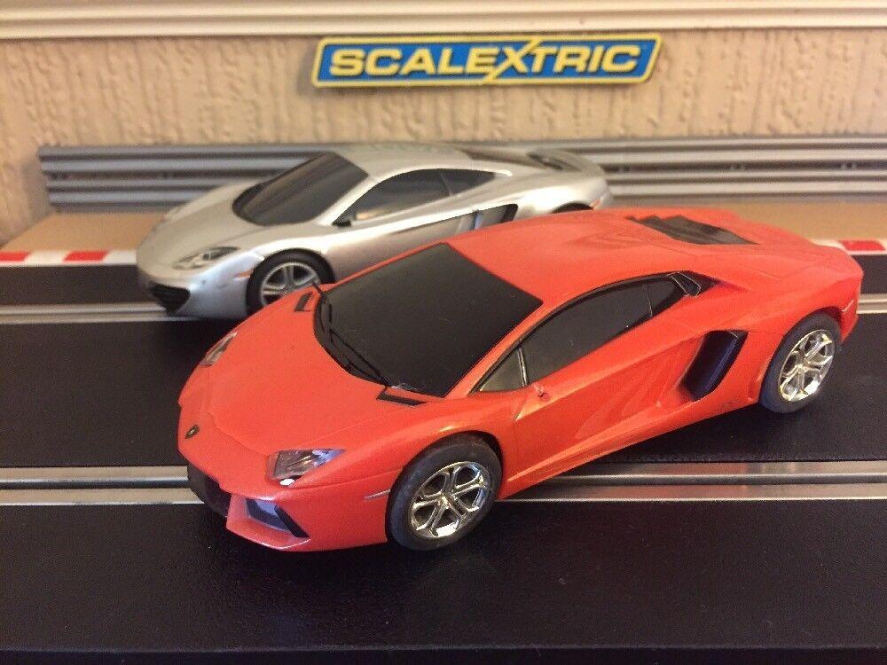 Scalextric Lamborghini Aventador & Mclaren MP4-12C Fully Serviced