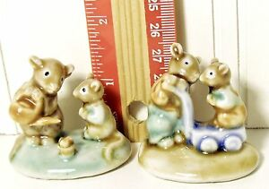 MINITURE CERAMIC MICE TWO PCS. MOTHER & BABY FATHER & BABY