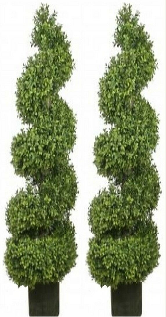 Two 56 inch Outdoor Artificial Boxwood Spiral Topiary Trees Trees Trees UV Rated 4 5 6 Pool 729d76