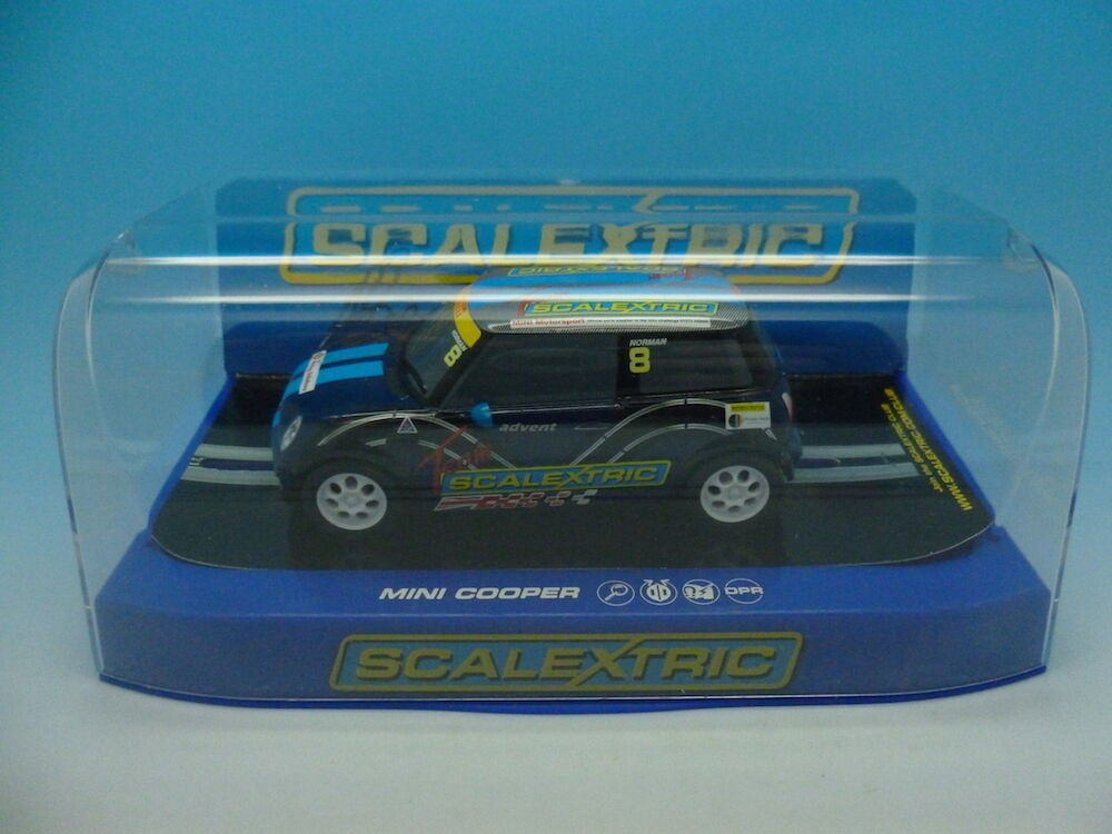 Scalextric C3428 Mini Cooper hand signed by Adrian Norman on box