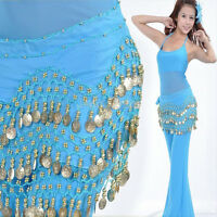 Belly Dance Dancing Hip Skirt Scarf Wrap Chiffon 3 Layers Silver Coin Waist Belt