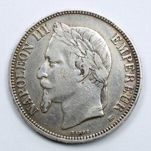 Piece-Argent-5-Francs-Napoleon-III-tete-lauree-Annee-1869-BB-Atelier-Strasbourg