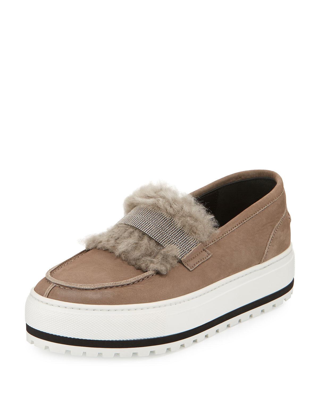 NEW $1375 Platform Brunello Cucinelli Leather Fur Monili Platform $1375 Sneaker Slip On 38 7ac83e