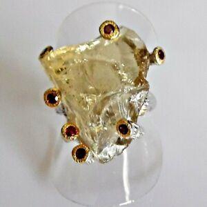 Natürlicher Citrin Quarz Rhodolith Ring 925 Silber Black Gelbgold 17,8 mm 56
