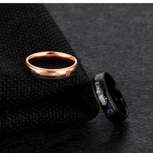 Sa Reine et son roi en Acier Inoxydable Diamant couple anneaux pour amant un engagement
