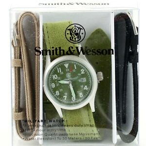 Smith-amp-Wesson-Military-Olive-Drab-OD-Face-Tactical-Watch-w-3-Straps-Gift-Set