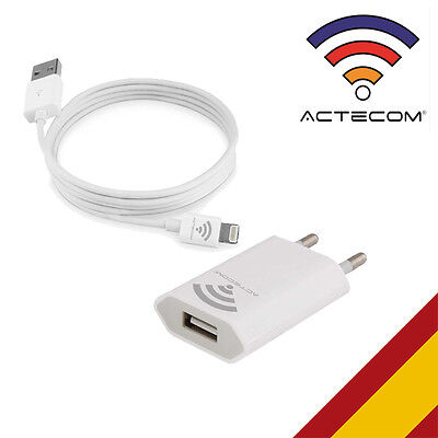 ACTECOM® CARGADOR+CABLE COMPATIBLE IPHONE 5 / 5S 6 / 5S / 7 /7S PLUS CARGA DATOS