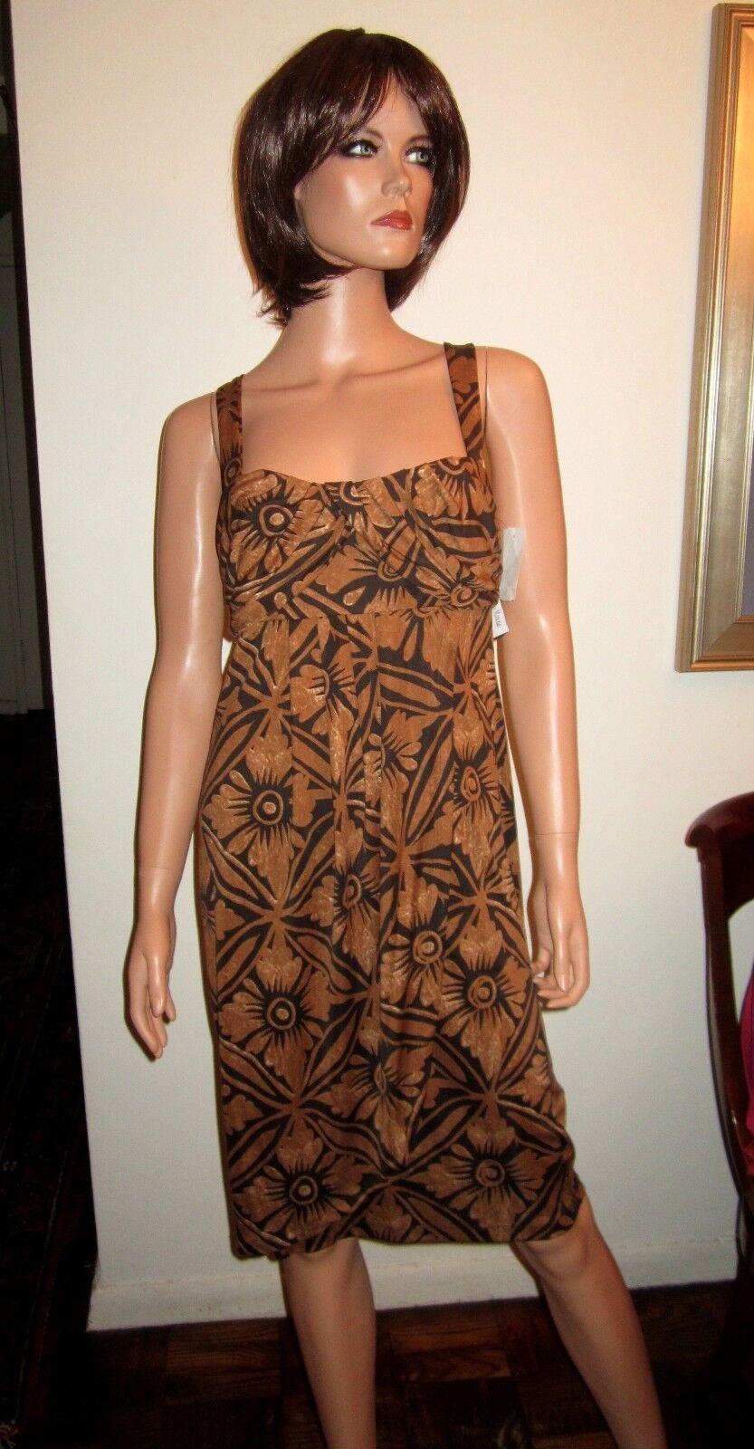 NWT Diane von Furstenberg M 10 Dress Sundress Sun Brown Print Silk Lali DVF
