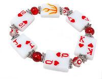 Poker Game Night Fun Glass Stretch Bracelet With Gift Bag 7.5