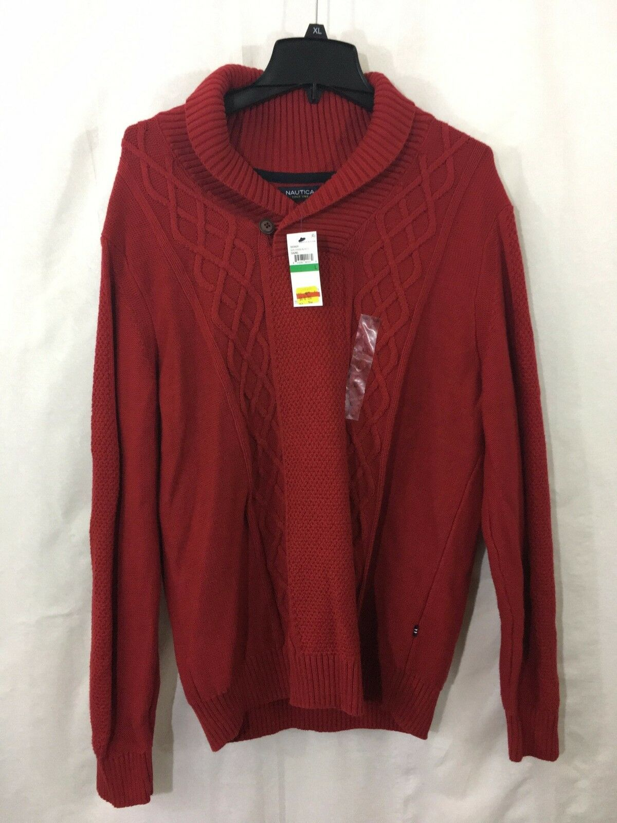 3512897713 Nautica Mens Cable Shawl Collar Sweater Red Knit npasis2767-Sweaters ...