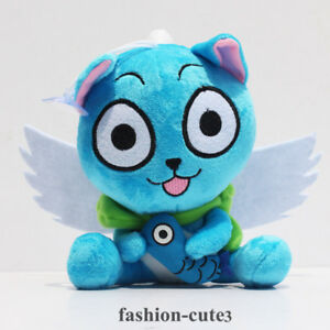 """New Fairy tail blue cat happy with fish stuffed plush Anime 6""""  15cm toy doll"""