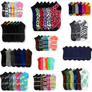 12~60pair Women Girl Spandex Ankle Low Cut Socks No Show Wholesale Lot 6-8 9-11