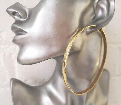 STUNNING Big /& wide silver tone filigree patterned large  hoop earrings *NEW