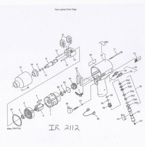 INGERSOLL RAND 2112 TK2 TUNE UP KIT 2112 K75 BUTTON KIT 2131 D93 TRIGGER