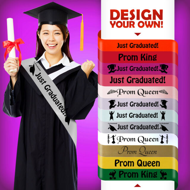 Set of 2pcs Prom Sashes Prom King Queen Sash Graduation Party Photo Prop