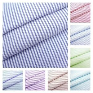 Cotton Blend Fabric Dressmaking Patchwo Lime Candy 3mm Woven Chambray Stripe