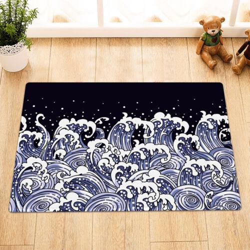 Details about  /Asian Art Style Sea Waves Blue Black Fabric Shower Curtain Set Bathroom Decor