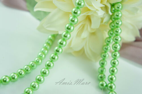 160PCS 6mm Glass Pearl Spacer Green Color Round DIY Imitation Pearl beads