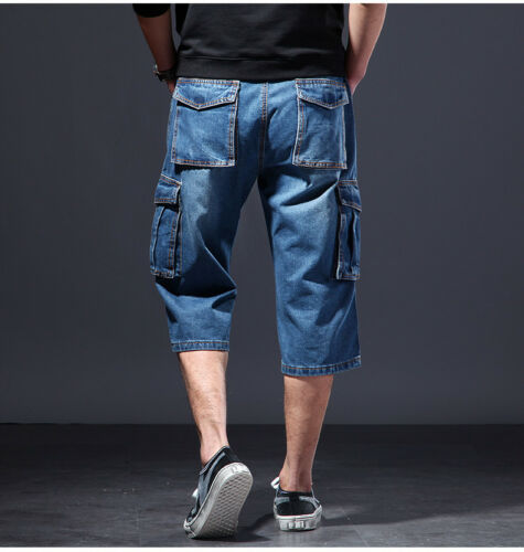 New Mens Jeans Denim Cargo Combat Shorts Summer Casual Multi Pocket Pant W30-48