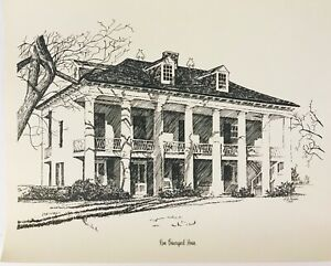 Rene-Beauregard-House-New-Orleans-H-A-Perez-1970-Vintage-Lithography-Sketch