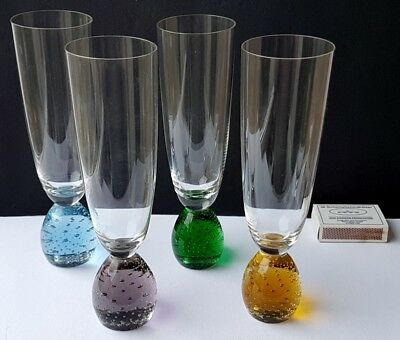 4 Ekenäs Glass Vases Mouth-blown Set Air Stone Um 1960 K822 Grade Products According To Quality Sweden
