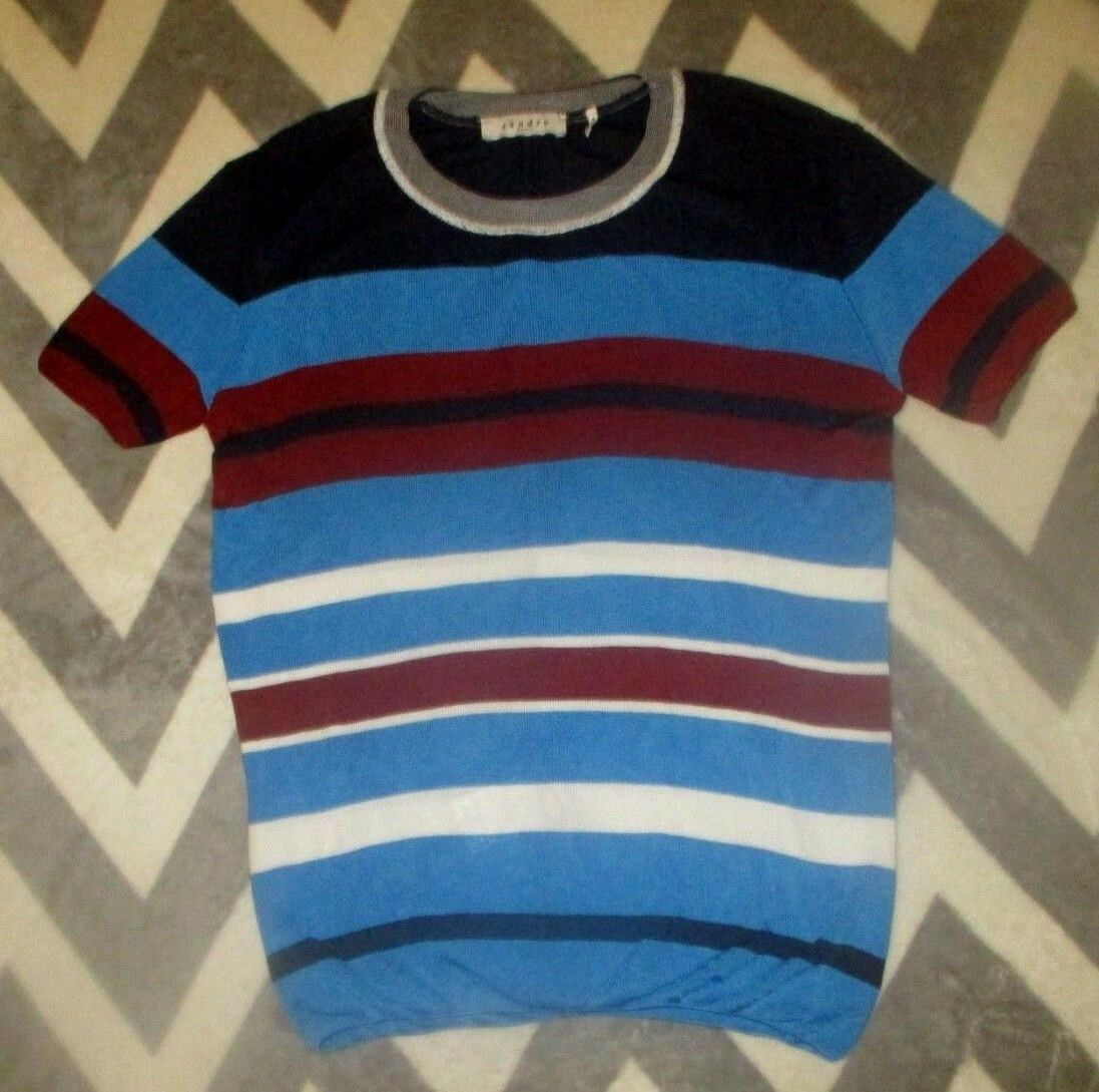Sandro Paris Knit Woherren Sweater Top Stripe Fall Farbes Größe 3 US M-L EUC