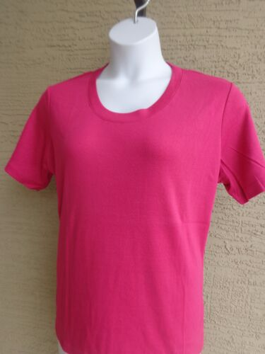 Being Casual Cotton Blend Fine Ribbed S//S Crew Neck Tee Top  3X Fuchsia