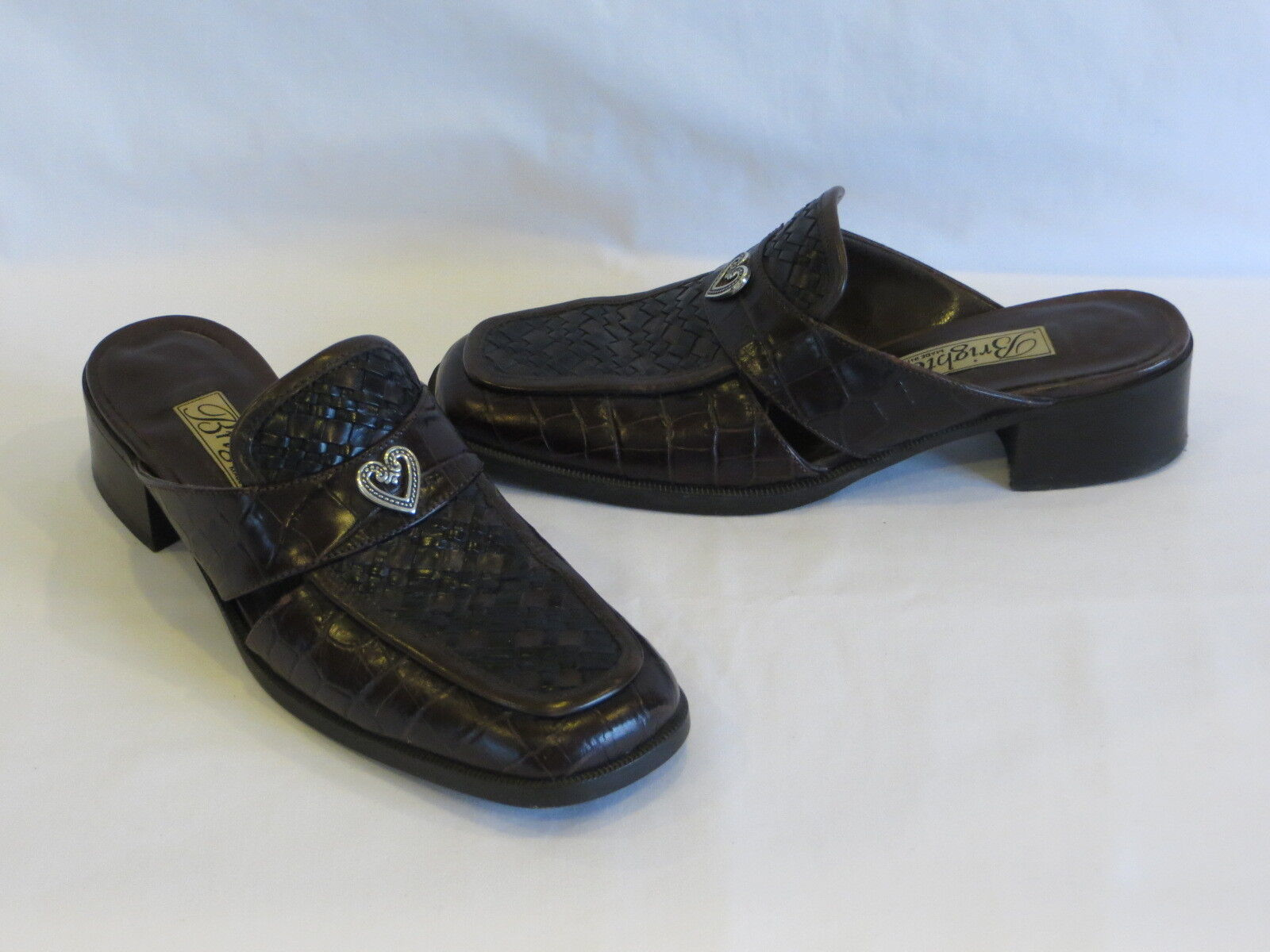 Brighton - Black Brown Woven Leather Loafers Slides Metal Heart Accent-8.5N