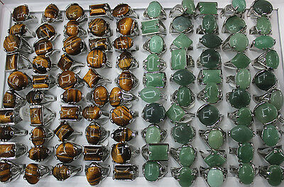 Wholesale lots 45pcs 2style mixed big natural gemstone fashion lady's rings
