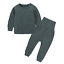 Fall Winter Twin Kid Boy Girl Solid Long Sleeve Thick Top Pants Warm Pajamas Set