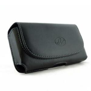 BLACK-LEATHER-SIDE-CASE-SIDE-COVER-POUCH-BELT-HOLSTER-CLIP-M9Y-for-Smartphones